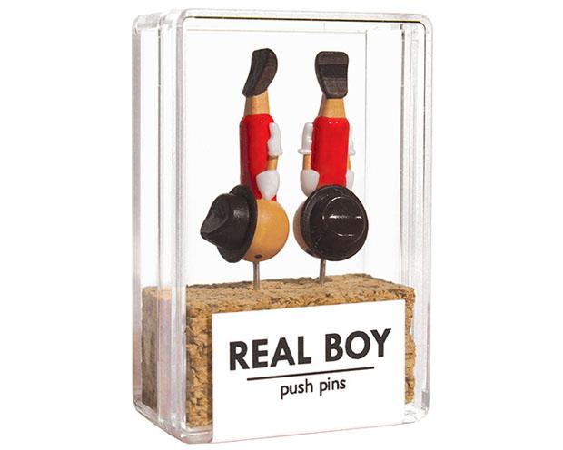 Real Boy, chinchetas, pins, Pinocho,  duncan shotton, pinnochio, corkboard, board, hand painted, individually numbered, 1000