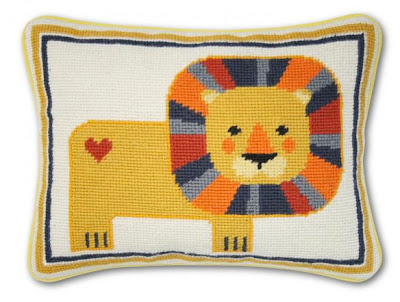 Jonathan Adler Lion needle point pillow