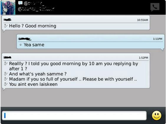 Lol. See The Reply Someone Got For Replying Good Morning (Screenshot)