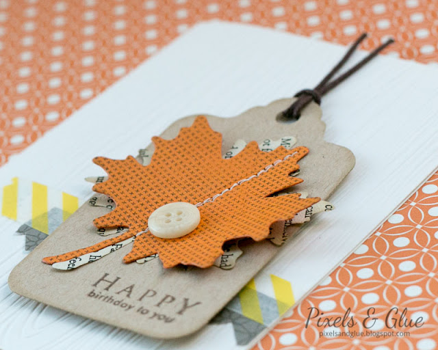 Handmade Fall Birthday Card with Paper Maple Leaves - Detail