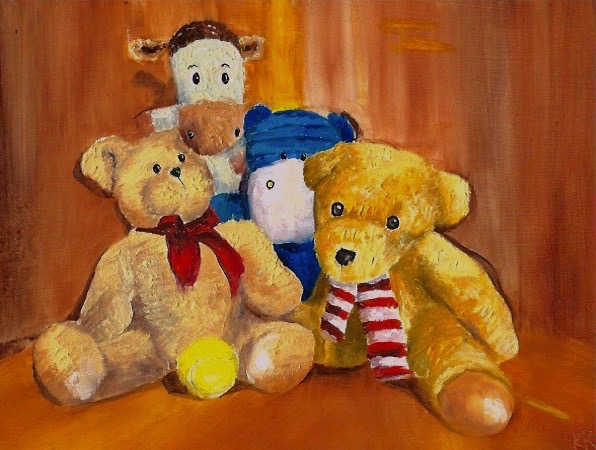 still life, oil painting, painting of teddy bears, painting of my dog's toys