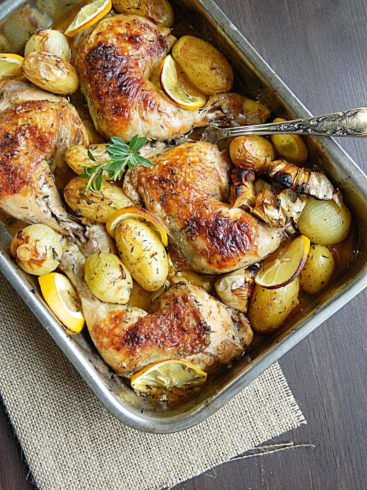 Roasted Chicken with Lemon & Herbs. Geröstete Hähnchen mit Kräuter ...