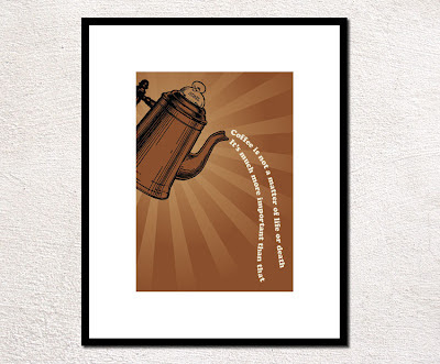 vintage coffee pot pouring poster text framed