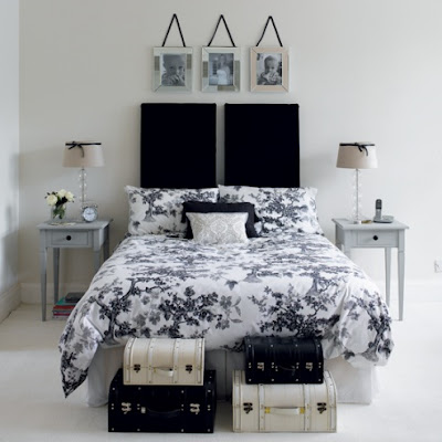 Dise o de dormitorios peque os en colores blanco y negro for Decoracion de dormitorios en blanco