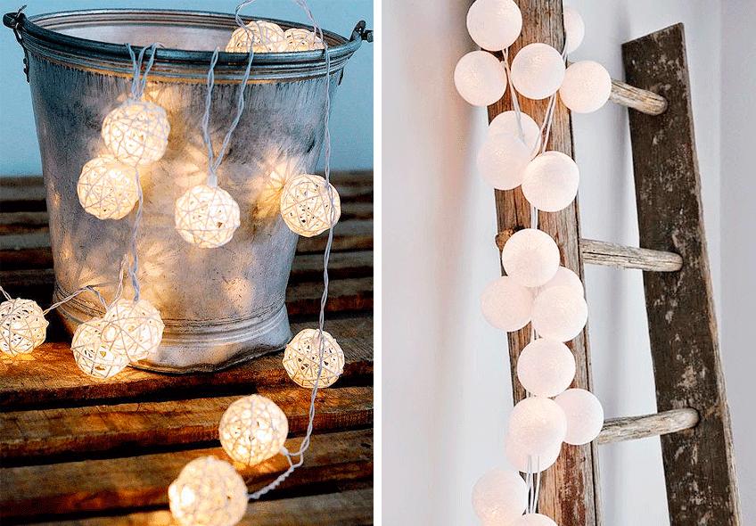 Rincones con guirnaldas decorativas blancas