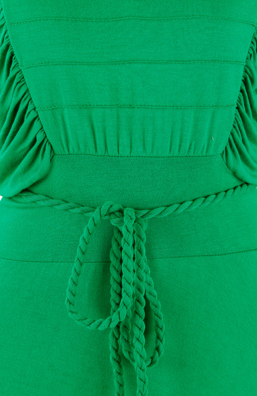 Green Terra Ruched Knee Length Flare Dress with Rope Belt