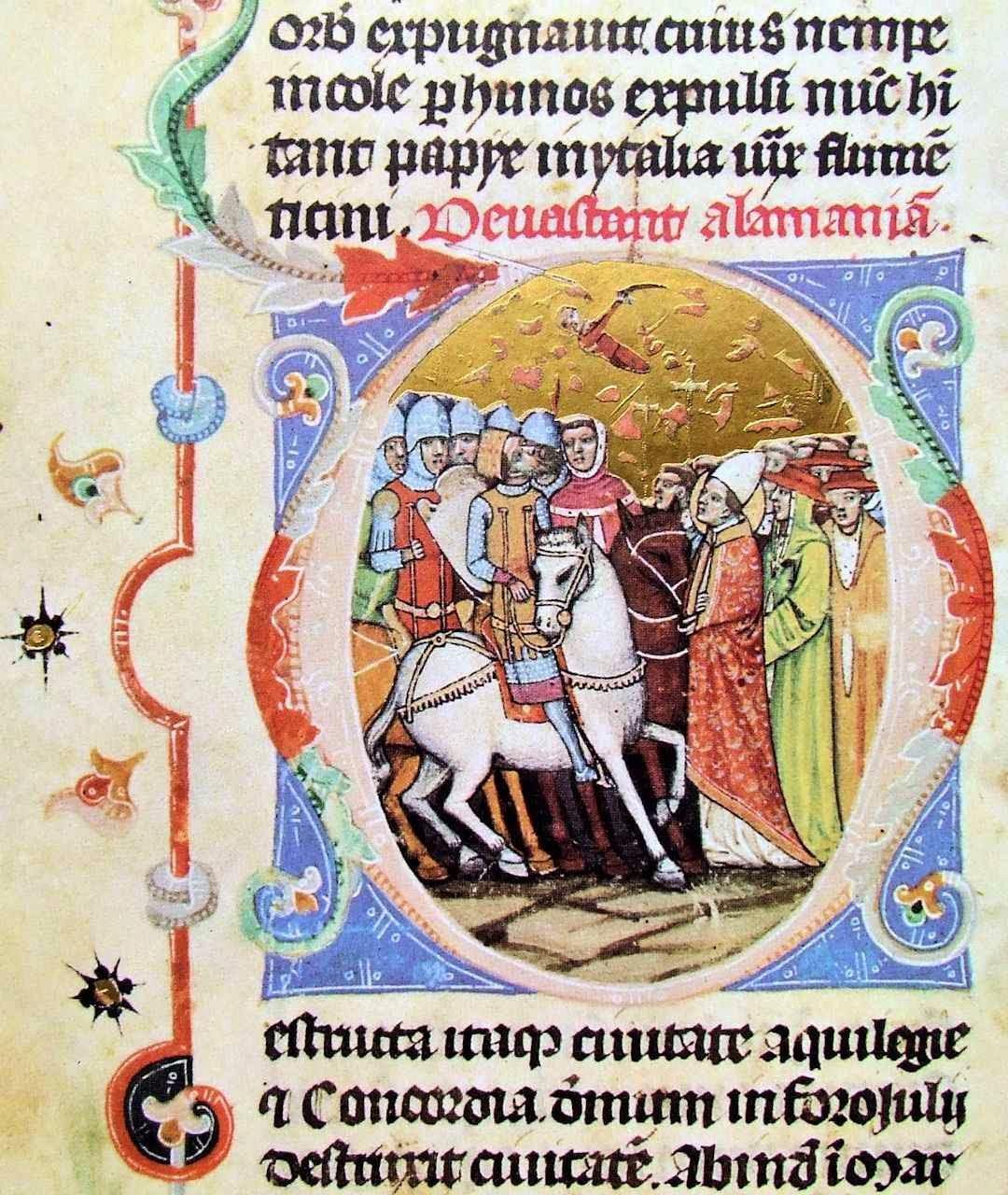 Átila intimidado pelo milagre de São Leão Magno se afasta de Roma