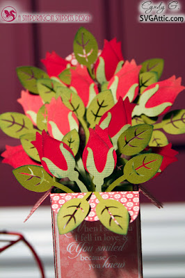 Paper rose bouquet box card - JGW Flower Boxcard Bouquet