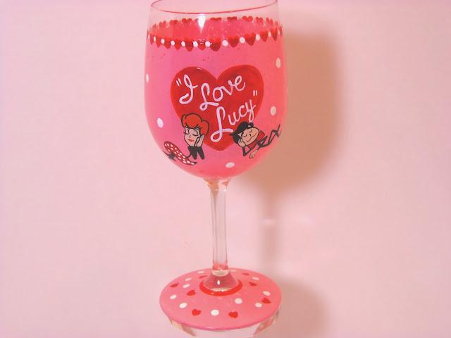 I Love Lucy wine glass