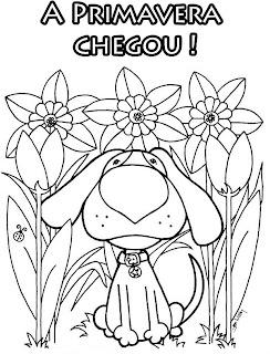 Desenhos Preto e Branco estação da primavera flores passaros borboletas Colorir