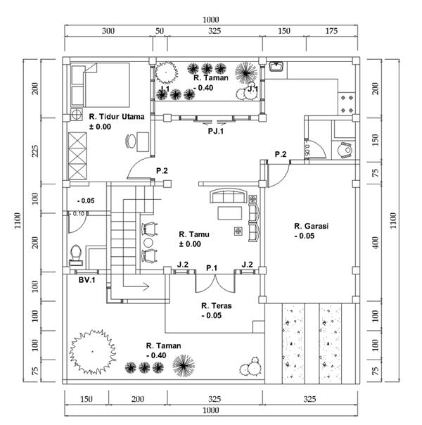 Denah Rumah 2 Lantai, Ukuran lahan 10 x 11 m