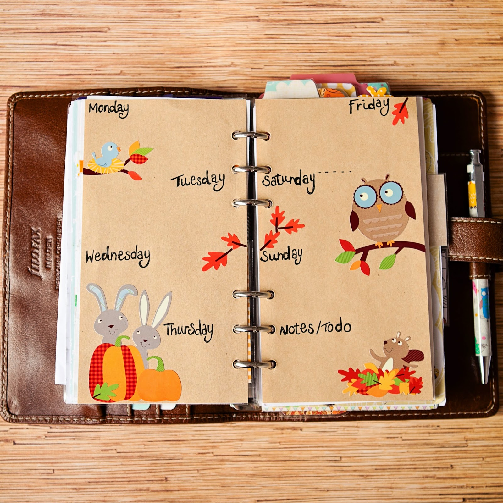 mrs brimbles squirrels in the leaves this weeks filofax