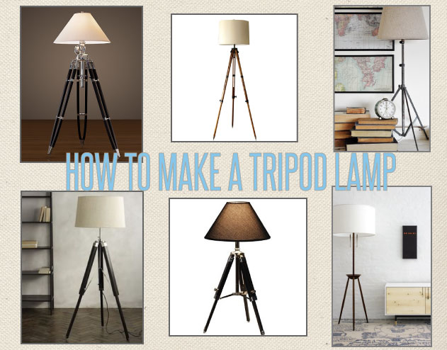 Diy tripod lamp megmade for Cheap tripod lamp