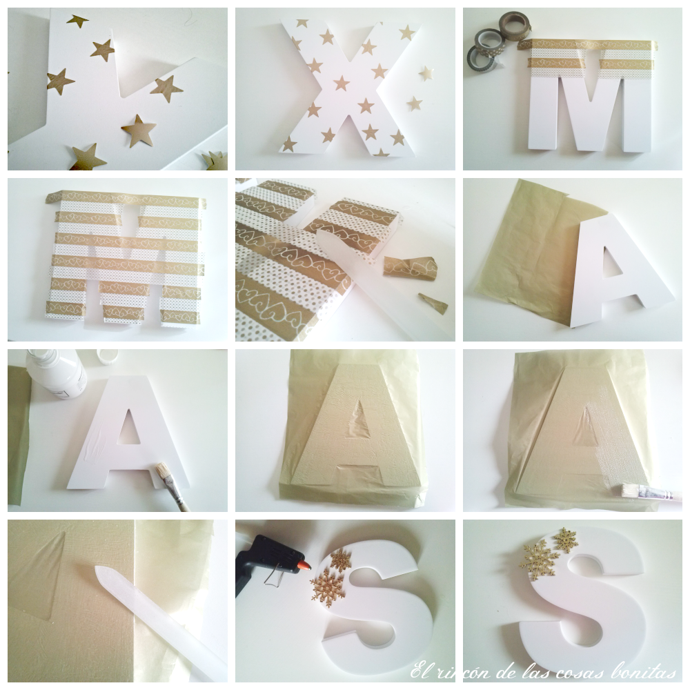Letras de madera decoradas para navidad handbox craft for Decoracion baules madera