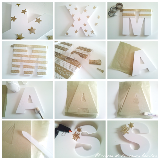 Letras de madera decoradas para navidad el rinc n de las for Puertas decoradas con flores de papel