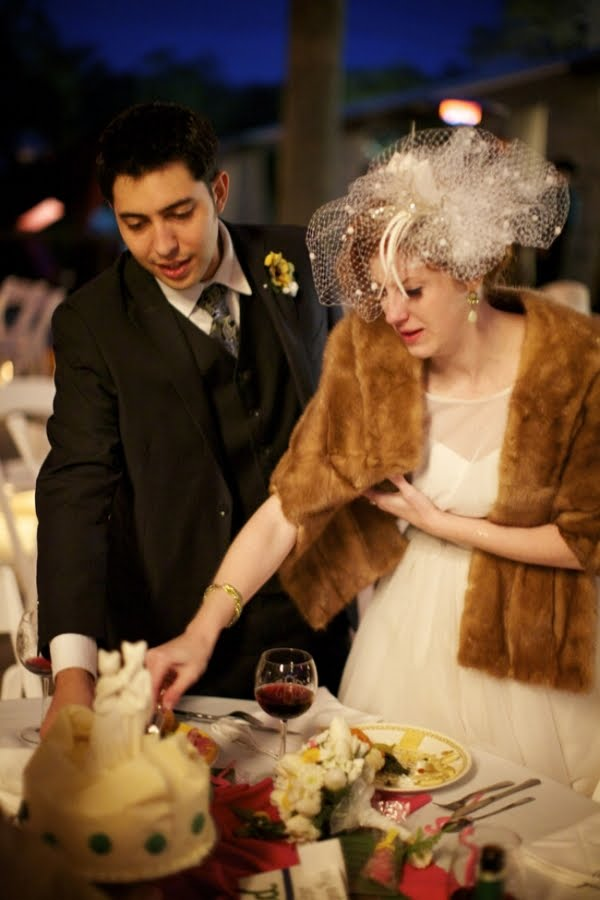 And don't you love that cake topper And her vintage fur wrap