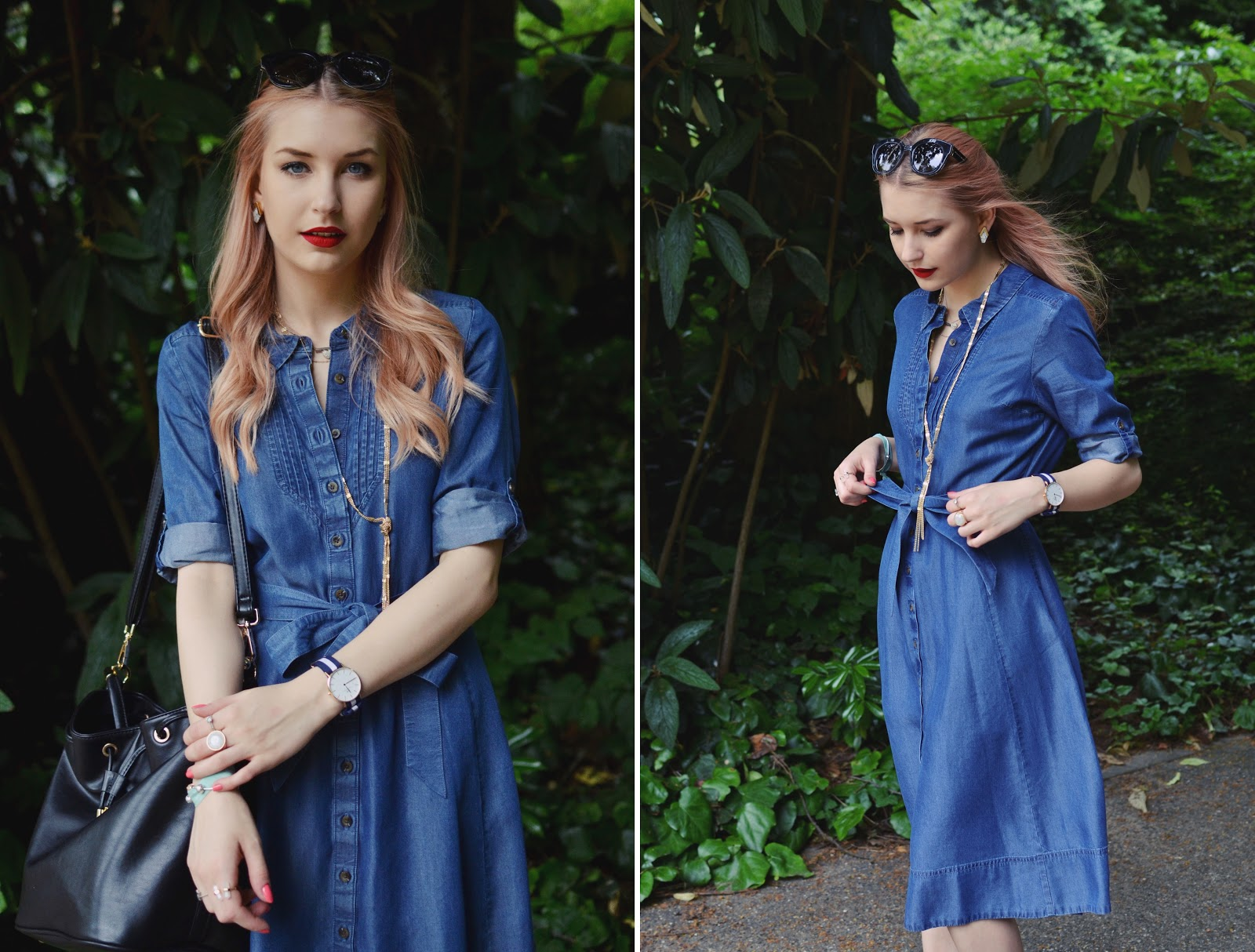 Denim midi dress blogger