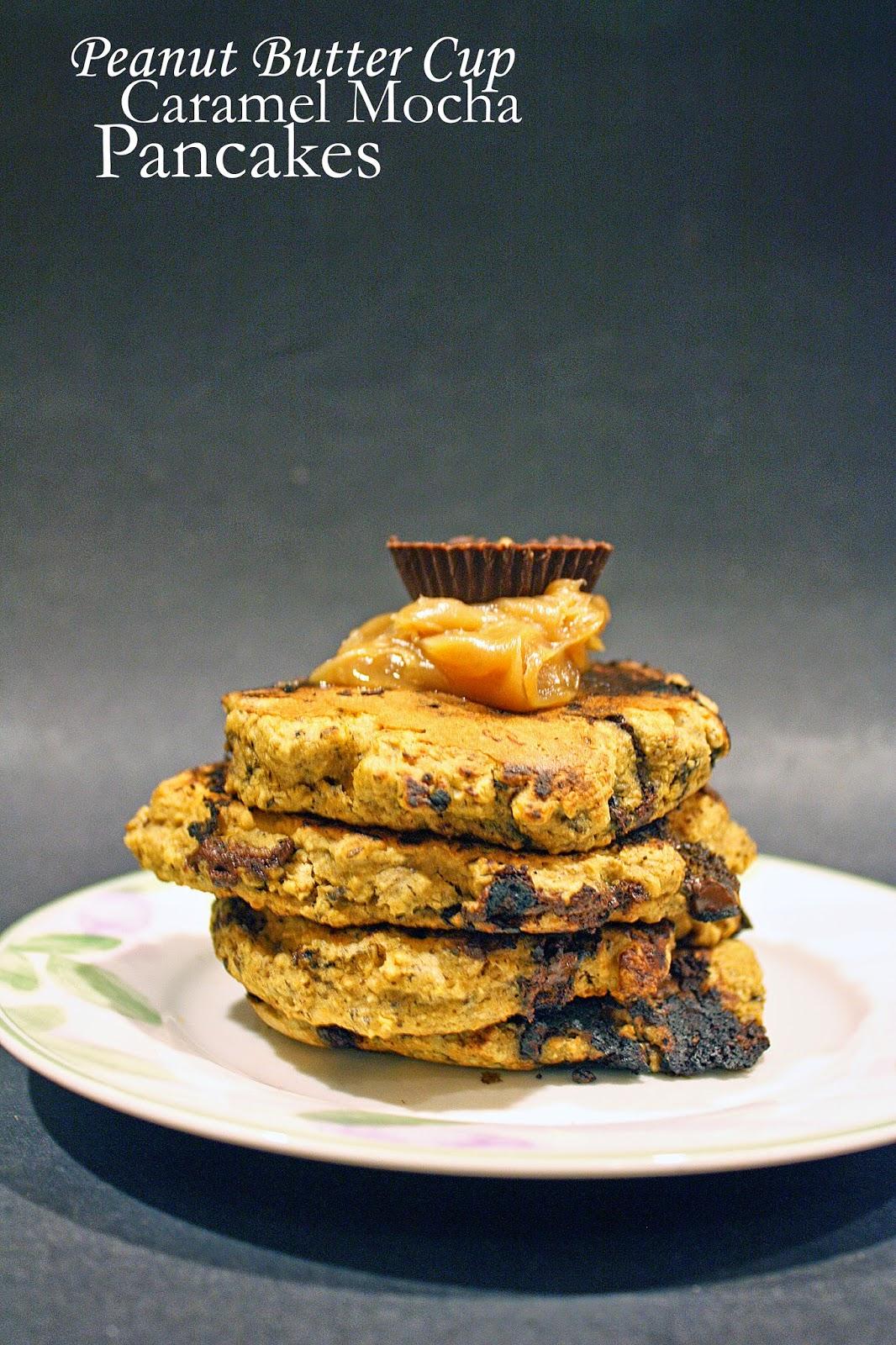 vegan peanut butter cup caramel mocha pancakes