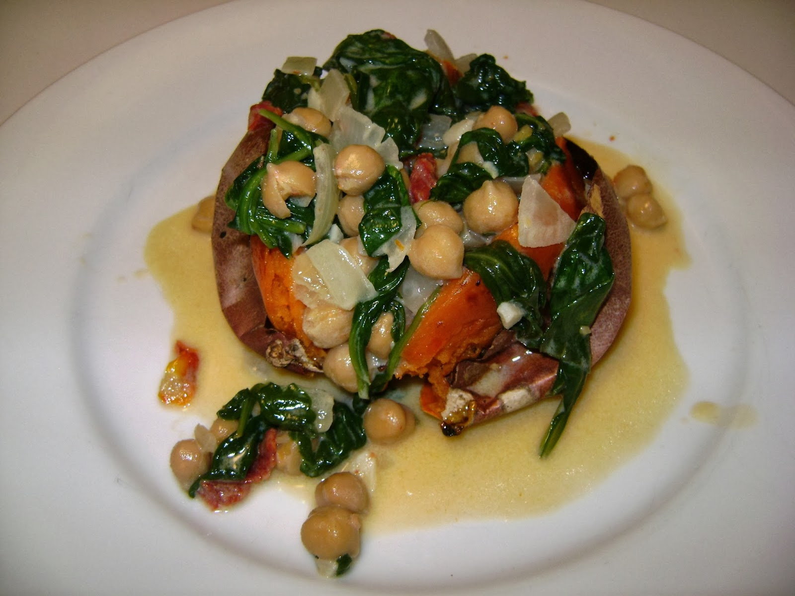 Sweet Potatoes with Braised Coconut Spinach and Chickpeas ...