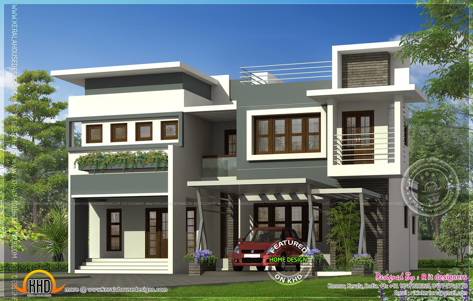 Modern contemporary residence design kerala home design for Modern home designs photos