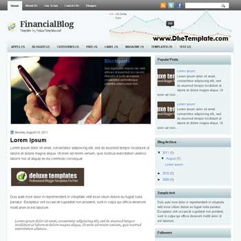 FinancialBlog blogger template. 2 column blogspot template. template blogspot magazine style