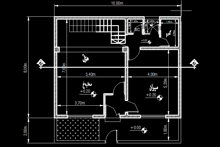 Small House 100 Meter Square Two Story CAD Drawing