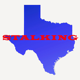 Outline of Texas with the word stalker.