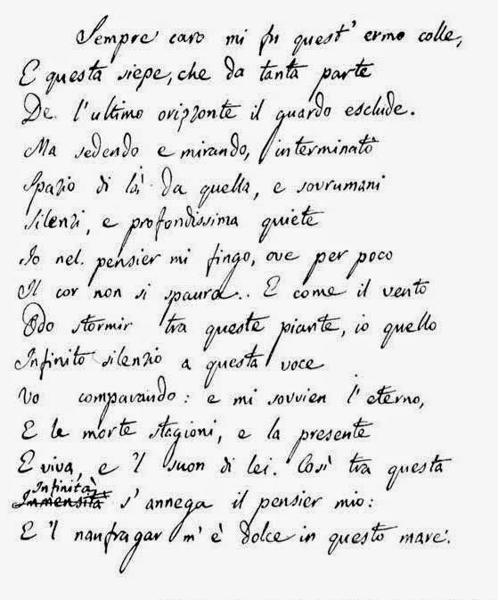 Quando Giacomo scrisse l'Infinito. Il manoscritto ritirato dall'asta romana