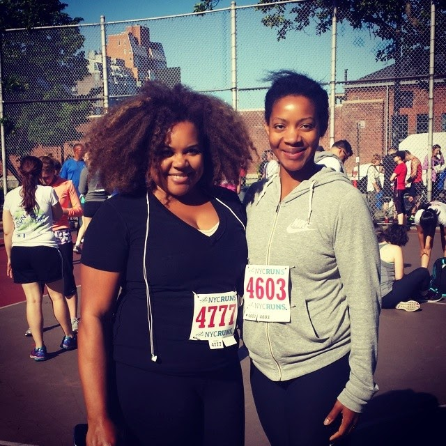 Patranila and Cherelle pre-race at the McCarren Park 5K