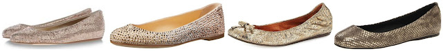 Three of these sparkly gold flats are from Le Silla, Giuseppe Zanotti, and Lanvin for hundreds of dollars and one is from Dolce Vita on sale for $29.57. Can you guess which ones are the more affordable pair? Click the links below to see if you are correct!