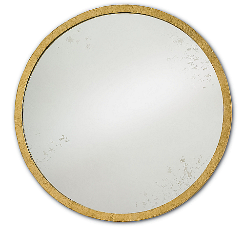 gold iron antiqued round mirror