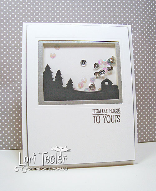 From Our House to Yours shaker card-designed by Lori Tecler/Inking Aloud-stamps from The Cat's Pajamas
