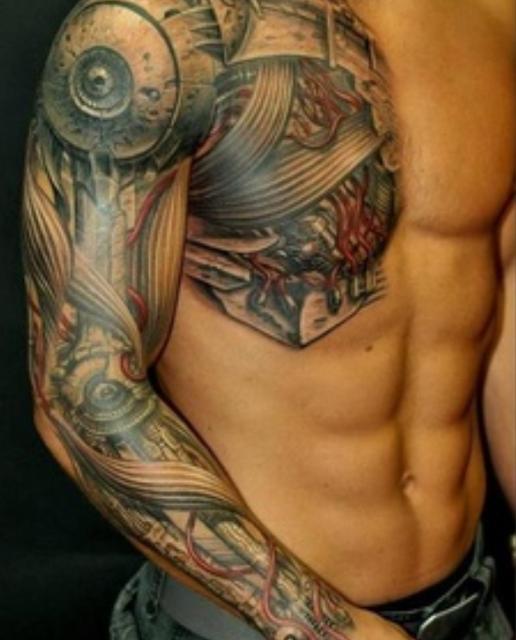 3d mechanical tattoo for man