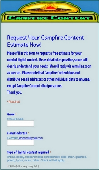 Get Your FREE Campfire Content Estimate Now!