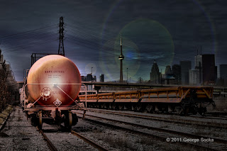 Toronto eastern railway yard tank car downtown