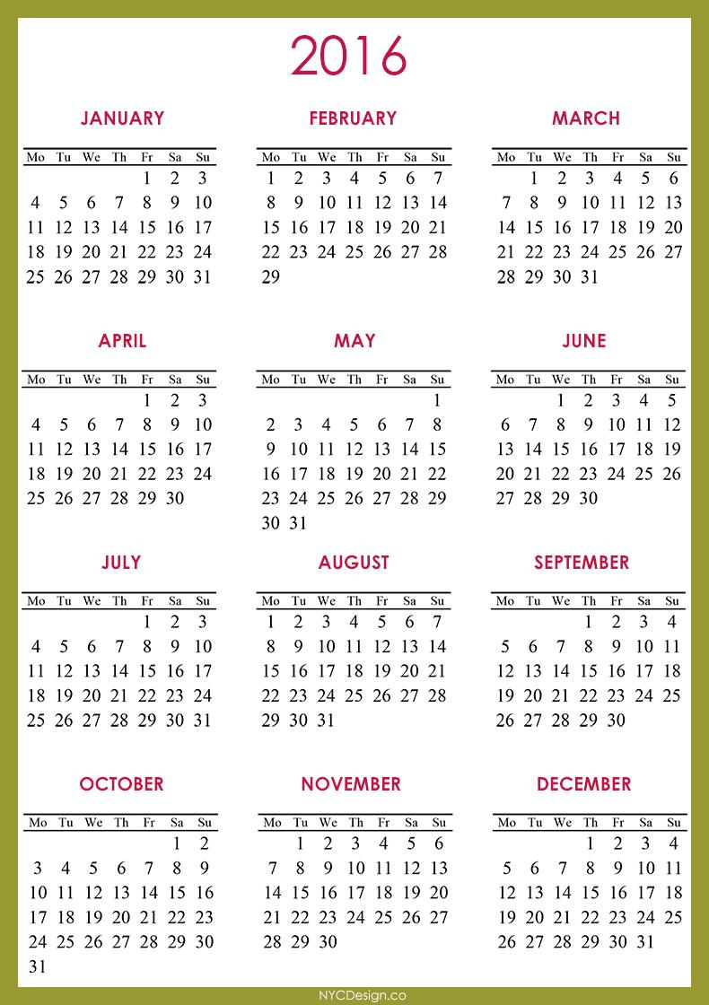 2016 Calendar - Printable - Free - Green, Red, White - 790 X 1120