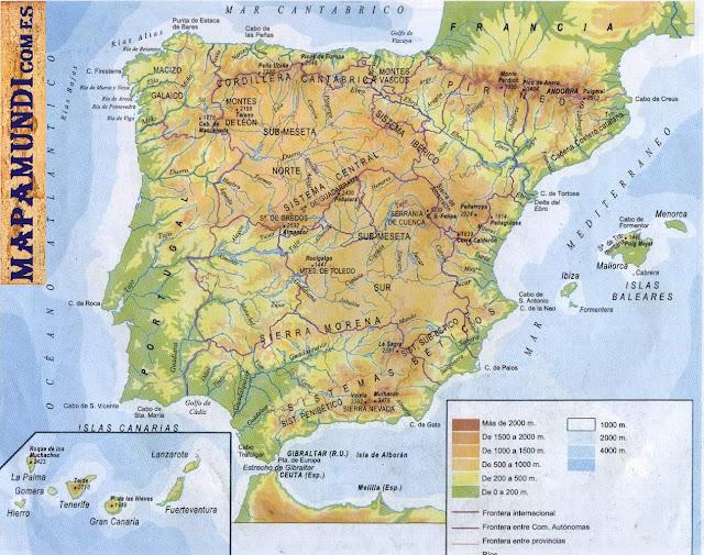 Mapamundi Mapa de España fisico