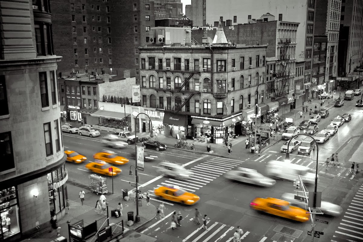New york city taxi Black and white photography
