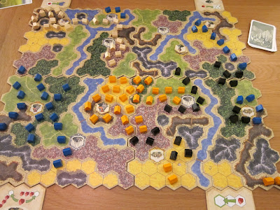 Kingdom Builder - The board mid way through the game