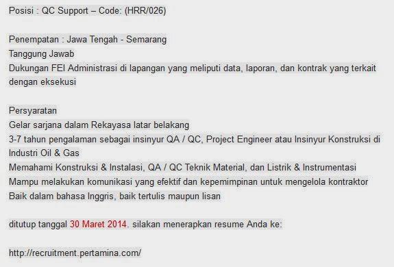 bursa-loker-bumn-pertamina-semarang-terbaru-maret-2014