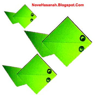 cara membuat origami yang mudah untuk anak TK, SD, dan pemula berbentuk kecebong