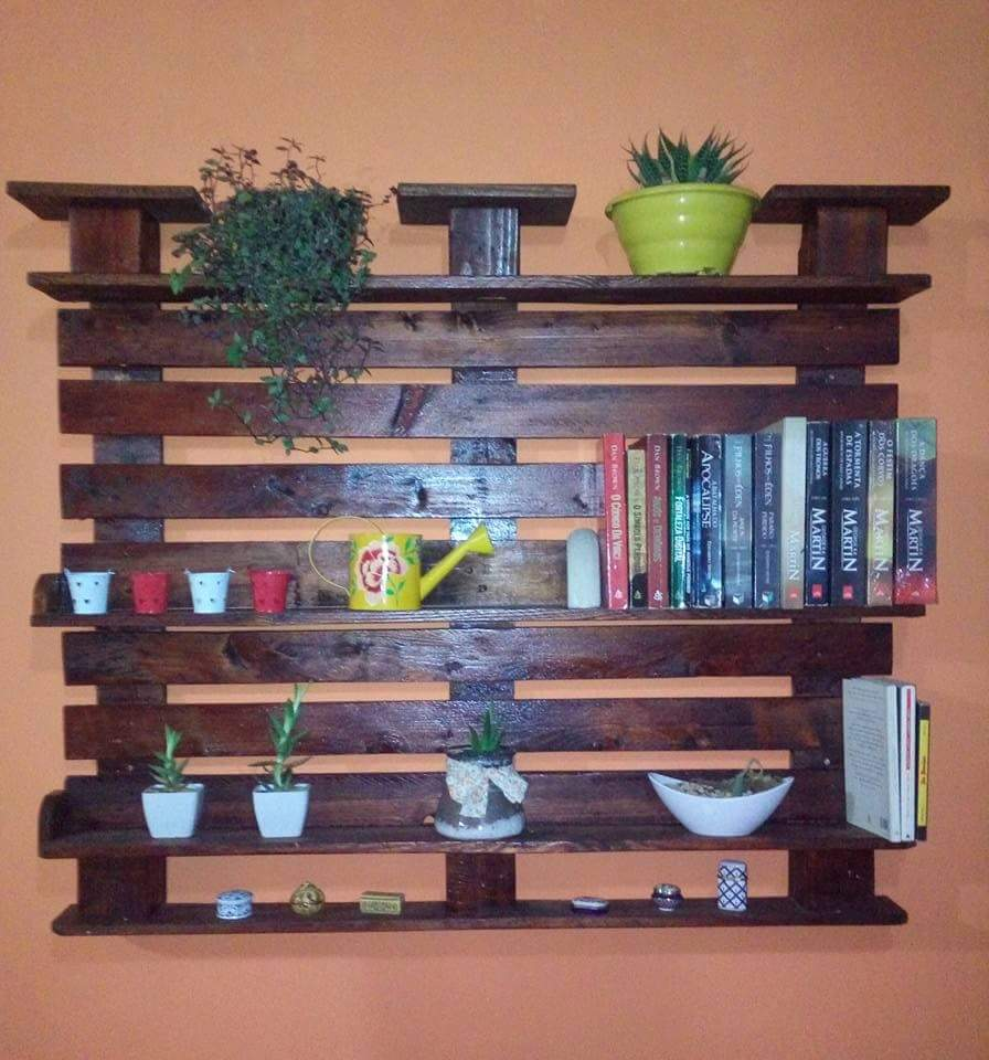 Pallets arte estante para livros com suporte para plantas for Estantes para plantas exteriores