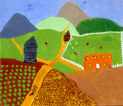 Art for small hands in the style of grandma moses for Teaching kids to paint on canvas