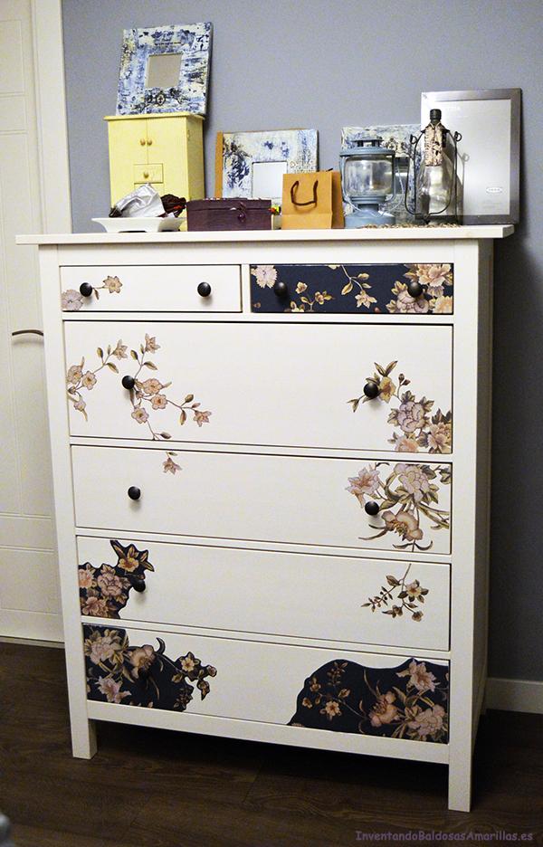 C mo de ikea personalizada con decoupage y papel reciclado - Personalizar muebles ikea ...