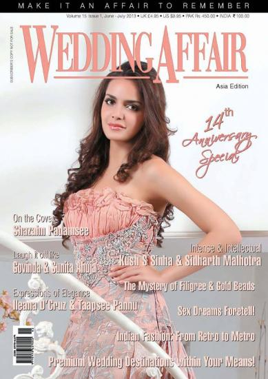 Shazahn Padamsee on the cover of WEDDING AFFAIR magazine-july issue