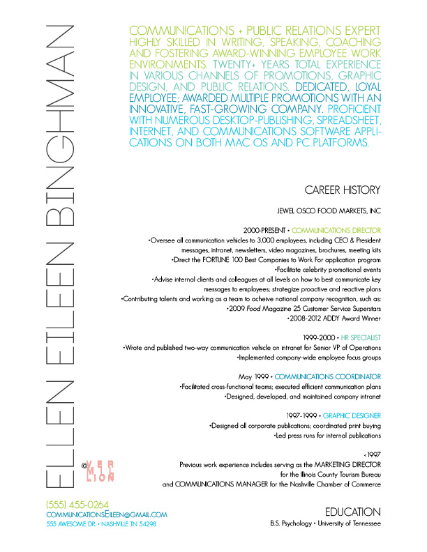 Vermillion Visual Inspiration Make Your Resume Move Use Color
