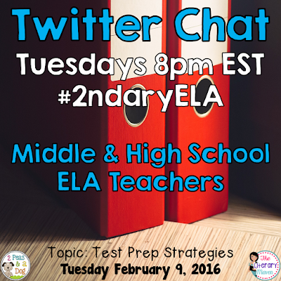 Join secondary English Language Arts teachers Tuesday evenings at 8 pm EST on Twitter. This week's chat will focus on test prep strategies.