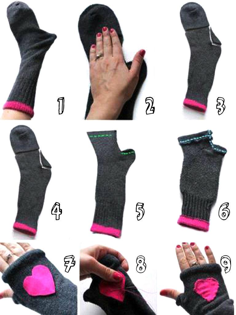 C mo hacer tus guantes con calcetines aprender - Como hacer talon de calcetines de lana ...
