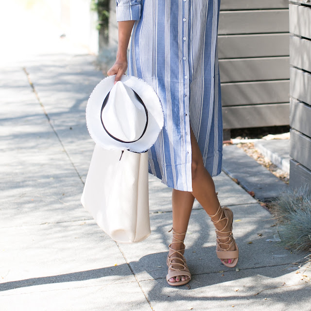 what to wear summer beach outfit, stripped shirt dress, justfab shoes, lace up sandals