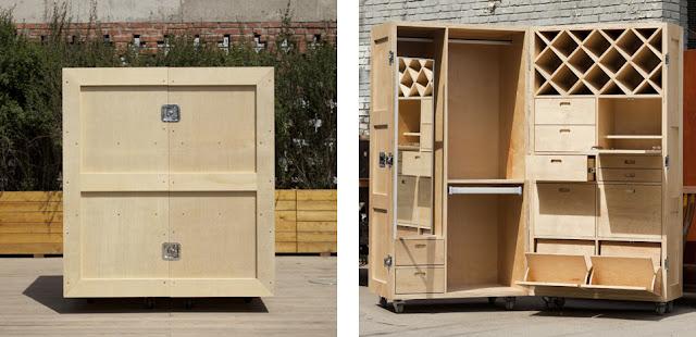 de muebles consiste en una serie de cajas de embalaje de madera de
